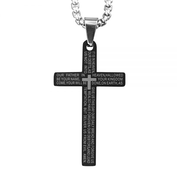 Black Lord's Prayer Cross Necklace Product Image Front