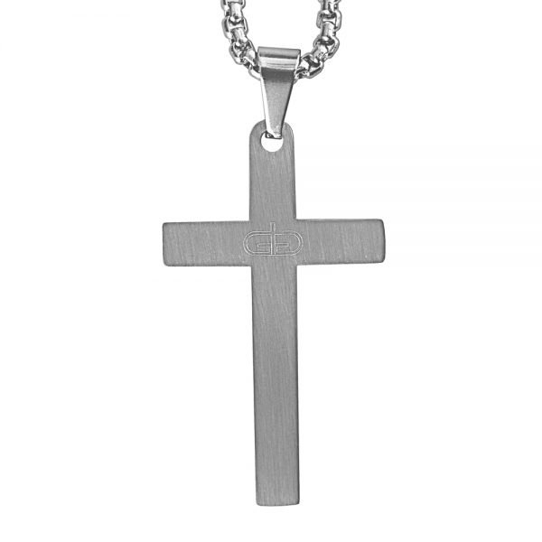 Silver Lord's Prayer Cross Necklace Product Image Back