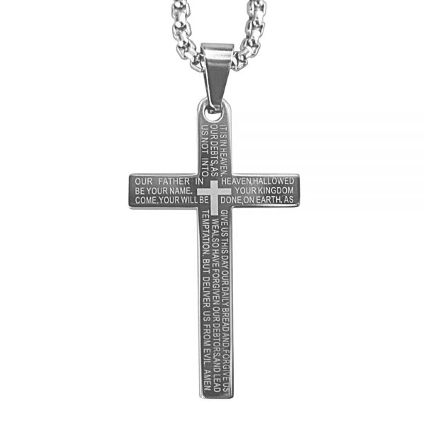Silver Lord's Prayer Cross Necklace Product Image Front