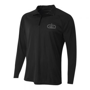 Black Rise Up Quarter Zip Long Sleeve Polo Product Image
