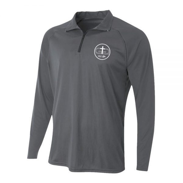 Gray Rise Up Quarter Zip Long Sleeve Polo Product Image